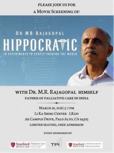 Movie Screening: Hippocratic with Dr. M.R. Rajagopal @ LK120, Li Ka Shing Center | Palo Alto | California | United States