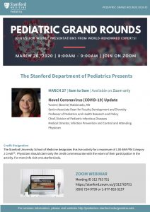 Pediatric Grand Rounds: Novel Coronavirus (COVID-19) Update @ Online only | Palo Alto | California | United States