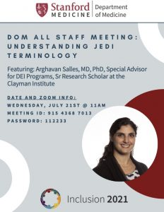 Department of Medicine Virtual All Staff Meeting: Understanding JEDI Terminology @ VIRTUAL--Online only