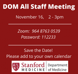 Department of Medicine Virtual All Staff Meeting @ VIRTUAL--Online only