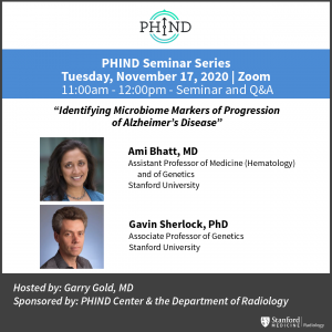 PHIND Seminar: Identifying Microbiome Markers of Progression of Alzheimer's Disease @ Zoom - See Description for Zoom Link