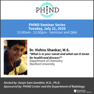 PHIND Seminar: Vishnu Shankar, M.S. @ Zoom - See Description for Zoom Link