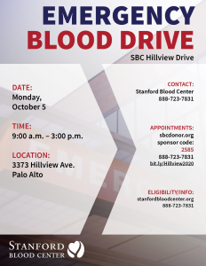 Hillview Emergency Blood Drive @ Hillview Drive