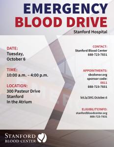 SHC Stanford Hospital Emergency Blood Drive @ Stanford Hospital