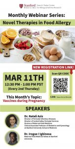 Monthly Webinar Series: Novel Therapies in Food Allergy--Vaccines during Pregnancy @ Online only