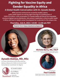 Fighting for Vaccine Equity and Gender Equality in Africa: A Global Health Conversation with Dr. Ayoade Alakija @ Online only