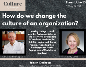 Clubhouse Event: How Do We Change the Culture of an Organization? @ Online only via Clubhouse